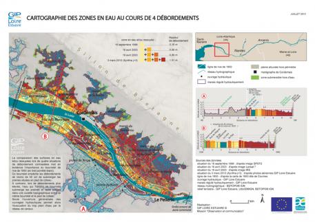 Zones en eau au cours de 4 débordements dans l'estuaire de la Loire